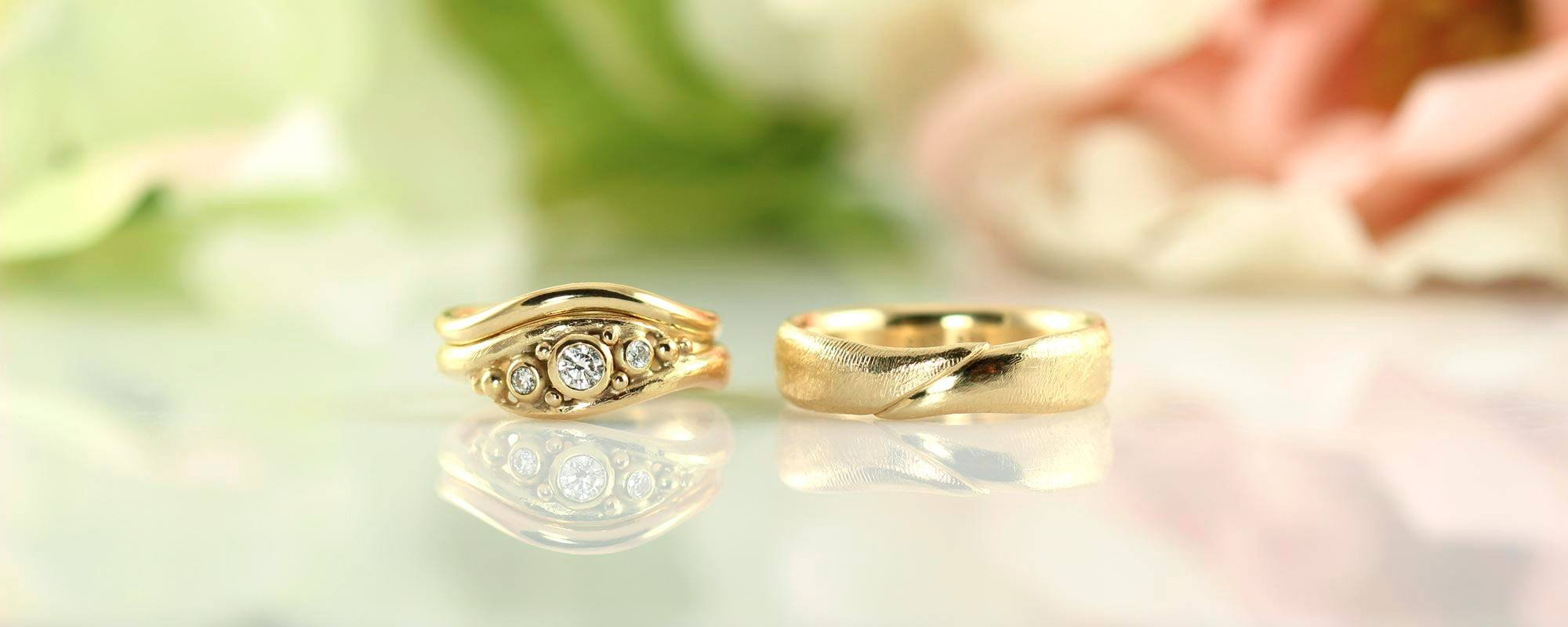 collections handmade wedding rings embrace of gold with diamonds - Handmade Wedding Rings