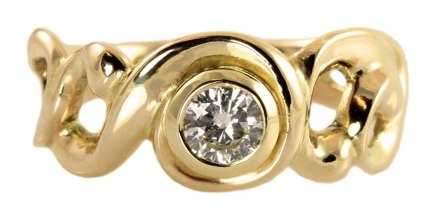 romantisk art nouveau forlovelsesring