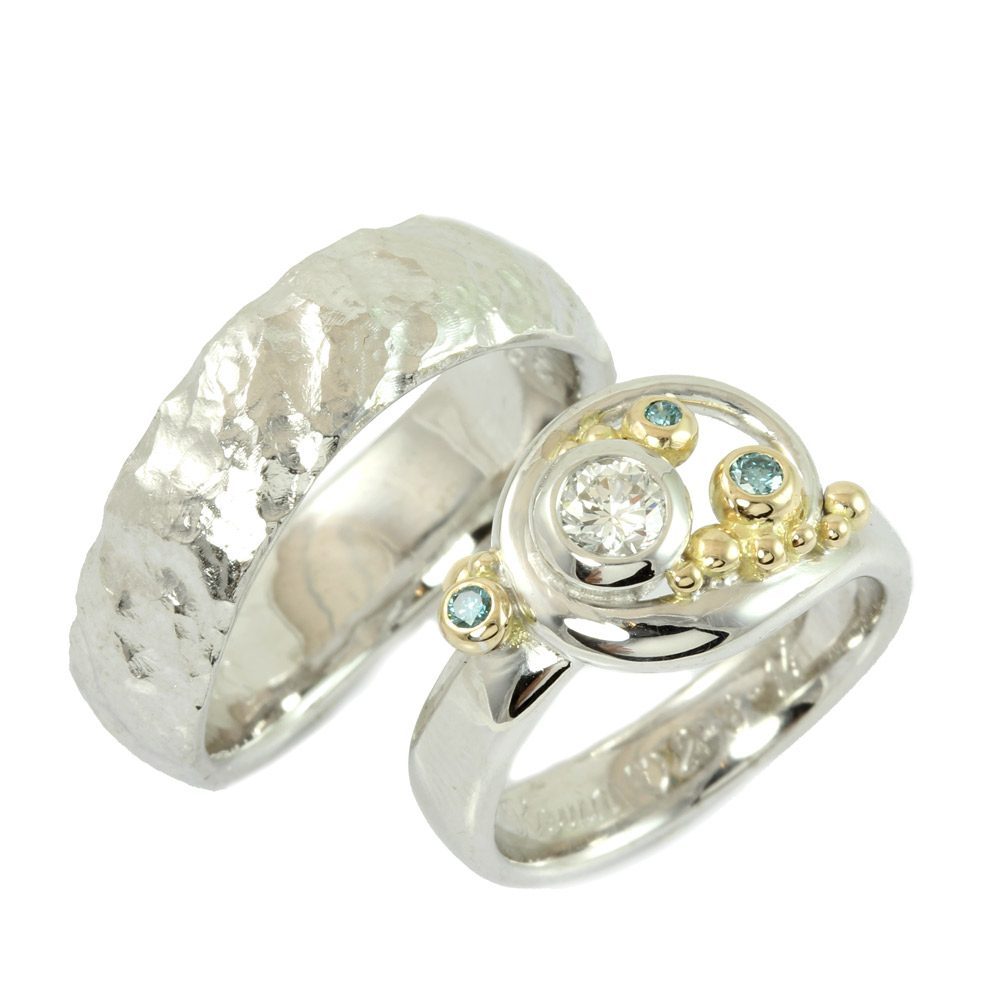 Engagement Rings Fairytale Wedding Rings With Blue Diamonds